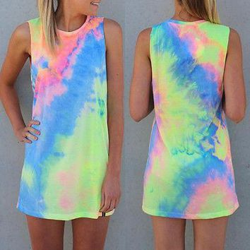 New Summer Sexy Women Sleeveless Party rainbow Dress Mini Dress tie Dye Beach Dress