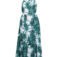 Rayon Cut Out Tie Back Maxi Dress