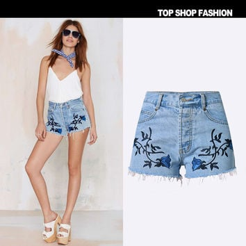 Women's Fashion High Waist Slim Denim Vintage Bohemia Pants Shorts [7976028673]