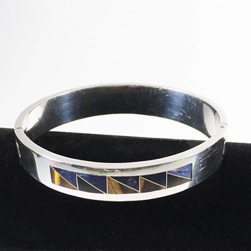 Vintage Sterling Silver Hinged Bangle, Heavy TAXCO Unisex Bracelet, Tiger Eye and Lapis Lazuli Inlay Jewelry