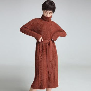 MY MALL METRO  4 Color Turtleneck Lace-up Mid Long Section Knitting Sweater  Check Homepage for Promo Codes! <