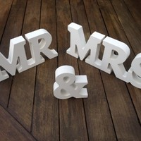 MR & MRS Wooden Letters Wedding Decoration / Present (As shown)