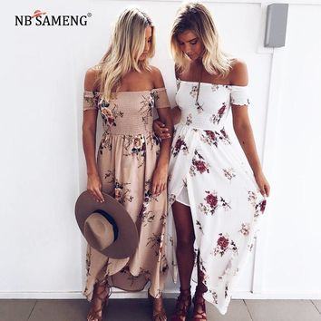 2018 Boho Style Long Dress Women Off Shoulder Summer Beach Dresses Floral Print Vintage Chiffon Maxi Dress Size S-2XL 4 Colors