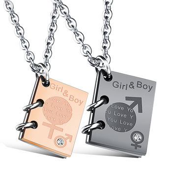 Stylish Shiny Jewelry Gift New Arrival Titanium Couple Innovative Pendant Birthday Necklace With Christmas Gift Box [9509251844]