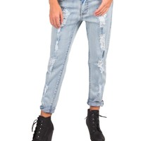 Distressed Lightwash Boyfriend Jeans