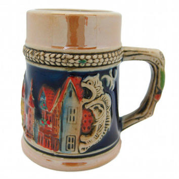 Beer Stein: Embossed German Village Shot Glass