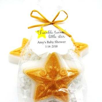 Gold Star Baby Shower Favors with custom Twinkle Twinkle Little Star Tags, Set of 12