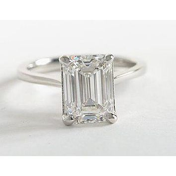 A Flawless 6CT Emerald Cut Russian Lab Diamond Solitaire Engagement Ring