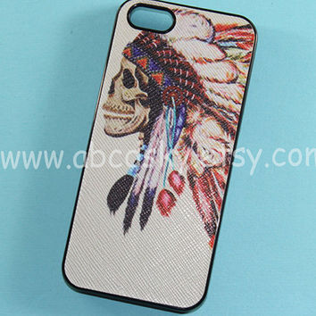 iPhone 4 Case iphone 4s cover Hipster Indian Skull by ABCDsky
