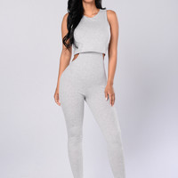 Side Piece Jumpsuit - Heather Grey