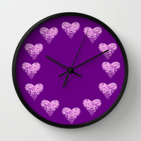 two sparkling hearts (in purple) Wall Clock by Marianna Tankelevich