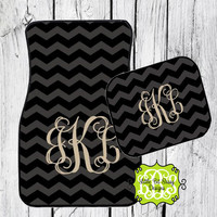 Car Mats Chevron Personalized Monogrammed Floor Car Mat Initial Black Gray Tan