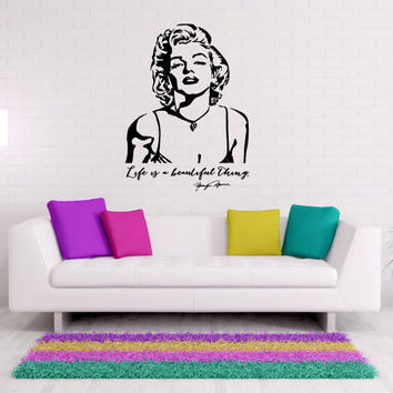 Life is a Beautiful Thing Marilyn Monroe Vinyl Wall Words Decal Sticker Graphic