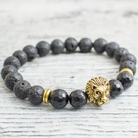 Black lava stone and faceted onyx beaded gold Lion head stretchy bracelet, made to order yoga bracelet