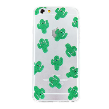 Green Cactus Collage Dense Soft Silicone TPU Clear Transparent Phone Back Case Cover for iPhone 5 5s 6 6s 7 7 Plus