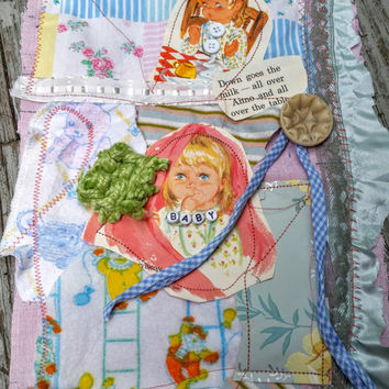 Vintage Baby Anne Fabric Collage Fiber Arts Mixed Media Frameable Art Quilting Square