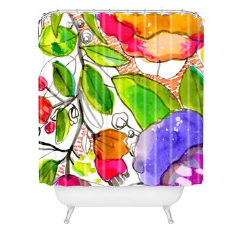 CayenaBlanca Watercolour Flowers Shower Curtain