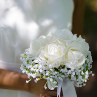 Real Touch White Rose Wedding Bouquet With Pearl Embellishments- Made To Order