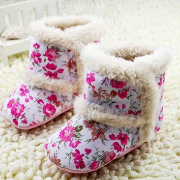 Baby Shoes Toddler Girl Print Fleece Snow Boots Winter Booties