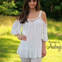 White Cold Shoulder Ruffle Top with Lace Detail - Boutique At Audrey's