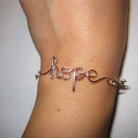 Pink Hope Infinity Bracelet Silver Wire Wrapped
