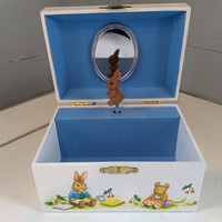 Vintage, Childrens, Musical, Bunny, Jewelry Box, Easter, Kids, RhymeswithDaughter