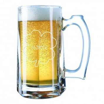 Giant Beer Mug 28 Ounces Beer Stein - Irish Gaelic Cheers Slainte Green Shamrock Toast - Laser Engraved