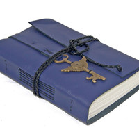 Purple Leather Journal with Winged Clock Key Charm and Bookmark