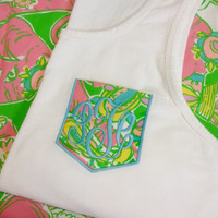 Monogrammed Pocket Tank with Lilly Fabric font MASTER CIRCLE