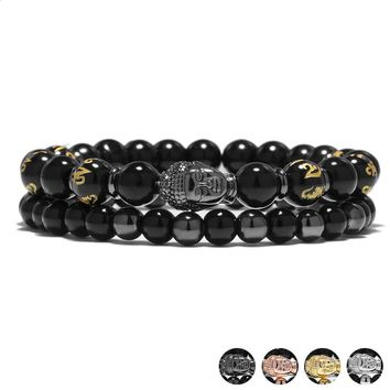 Newest 4 Color Buddha Bracelets Set For Women 2PCS/Set Letter Black Prayer Beads Hand Bracelet Homme Buddhism Fashion Jewelry