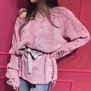 Knit Ripped Holes Long Sleeve Mixed-color Sweater [256901644314]