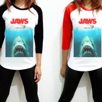 Jaws - 1975 American US Movie Thriller Horror Hollywood Women Long Sleeve Baseball Shirt Tshirt Jersey