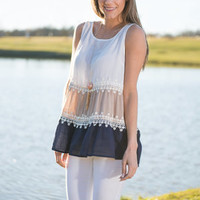 Fun And Frills Top, Navy