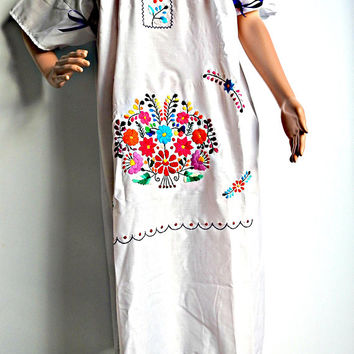 Mexican dress xl women, hippie wedding dress xl, plus size mexican dress, mexican embroidered dress, plus size mexican peasant dress, boho