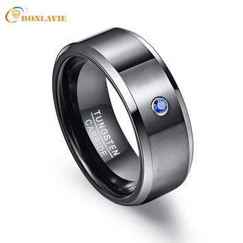 Pierscienie 8mm High Men Ring 100% Tungsten Carbide Zircon Black Wedding Bands Anillos para hombres
