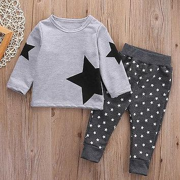 2016 HOT  Toddler Baby Boys Clothing set Kids Boys Sweatshirt  Star Long Pants Warm Cotton Children Boy clothing 2PCS Outfits