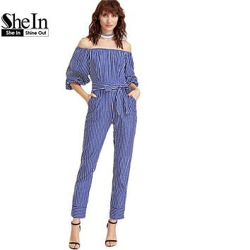 SheIn Jumpsuits for Women 2017 Elegant Jumpsuit Ladies Blue And White Striped Off The Shoulder Billow Sleeve Jumpsuit
