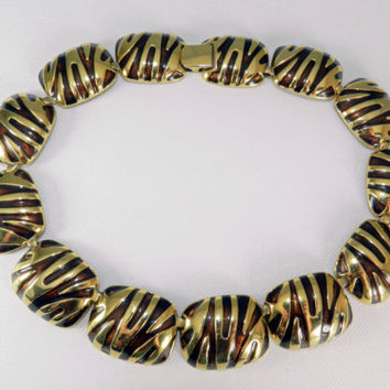 Striped Gold Plated Choker Collar Necklace, 112 Grams, Couture Fashion, Designer Jewelry, Vintage Runway Necklace, Collectible