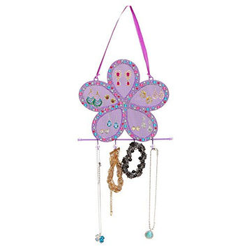 Purple Metal Mesh Rhinestones Flower Design Earring Holder / Jewelry Hook Hanging Display Rack - MyGift