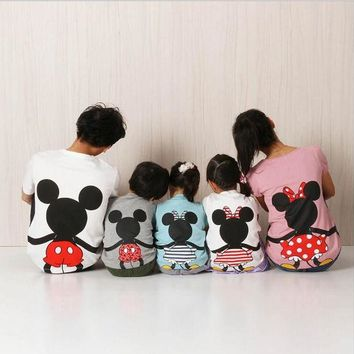 PEAPUNT Family Matching Clothes 2016 Summer Short Cartoon Mickey T shirt For Mother and Daughter Father Son Family Look Outfits Clothing