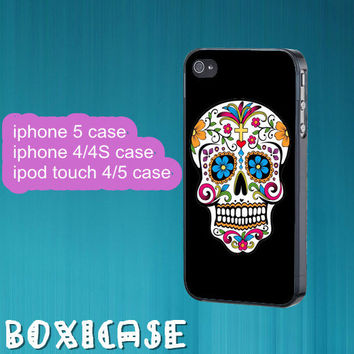 Floral Skull,Sugar skull---iphone 4 case,iphone 5 case,ipod touch 4 case,ipod touch 5 case,in plastic,silicone and  black , white.