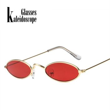 Kaleidoscope Glasses Small Oval Sunglasses Men Women Retro Metal Frame Red Vintage Round Skinny Cat Eye Sun Glasses UV400