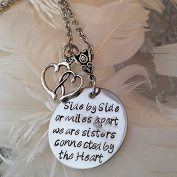 Personalized Hand Stamped Side by Side or miles apart we are sisters connected by the Heart Necklace with double floating heart charm