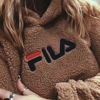 PEAPUF3 FILA Fashion Casual Long Sleeve To Keep Warm Lambs wool Hoodie Pullover Sweater G
