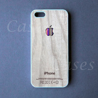 Iphone 5 Case -  Colorful Apple Logo on White Wood Iphone 5 Cover -  PRE ORDER (Ships Oct 1)