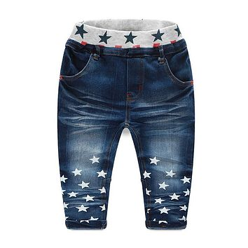 Spring/Autumn Stars Print Casual Boys Jeans Denim Kids Pants Trousers Children Baby Clothes New 2018 T1/0801DBO