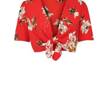 Cameo Rose Red Floral Tie Front Crop Top | New Look