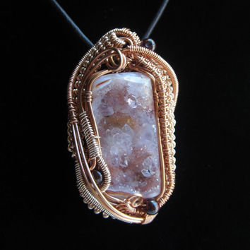 Wire Wrap Pendant with Crystals and Copper Wire Wearable Art Jewelry