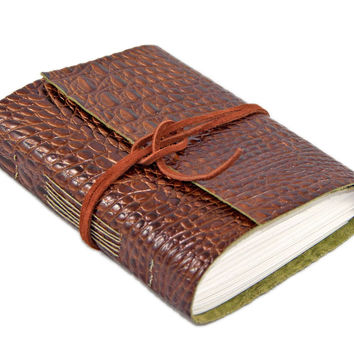 Brown Alligator Embossed Leather Journal with Blank Paper Journal - Travel Journal - Art Journal - Vacation Journal - Ready to Ship -