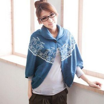 Cute Fawn Pattern Cloak Design Top Jacket Jeans Blue-Wholesale Women Fashion From Icanfashion.com
